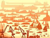 абстрактный фон большой гавани с много различных судов. — Cтоковый вектор