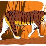 Vector illustration of cartoon tiger. — Stock Vector