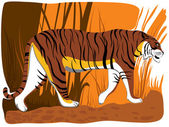 Ilustración de vector de tigre de dibujos animados. — Vector de stock