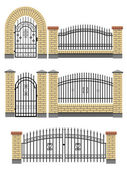 Gate and fences with brick columns and metal lattice. — Stock Vector