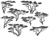 Silhouettes of African acacia trees. — Stock Vector