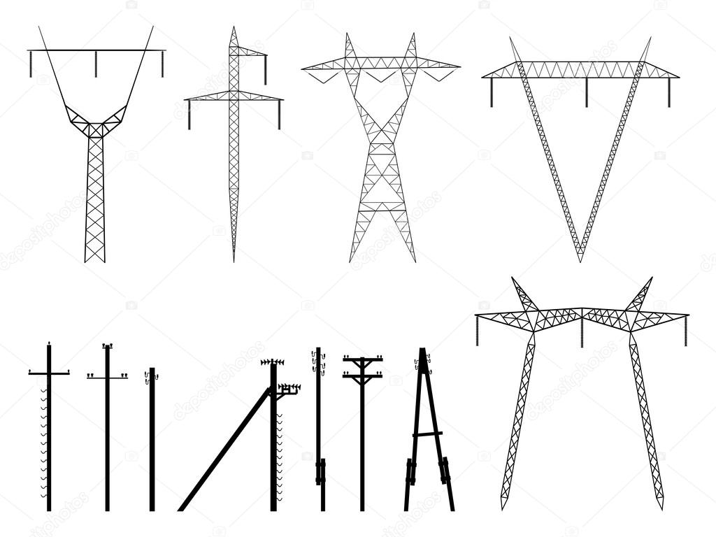 set of vector silhouettes of pylons power line stock vector set of vector silhouettes of power line support tower isolated on white vector by vertyr