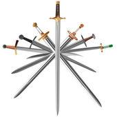 Vector illustrations set of swords cross crosswise. — Stock Vector
