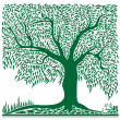 Abstract green tree in square shape. - Imagens vectoriais em stock