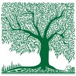 Vector de stock : Abstract green tree in square shape.