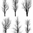 Silhouettes of birch trees without leaves. — Stock Vector #19634835