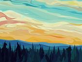 Vetor abstrato colinas da floresta de coníferas contra o pôr do sol. — Vetorial Stock
