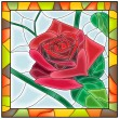 Stok Vektör: Vector illustration of flower red rose.