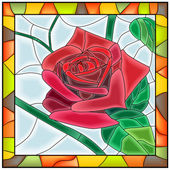 Vector illustration of flower red rose. — Stock Vector