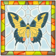 Stock Vector: Vector of butterfly in stained-glass window.