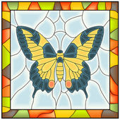 Vector of butterfly in stained-glass window. — Stock Vector