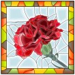 Stok Vektör: Vector illustration of flower red carnation.