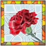ilustración vectorial del clavel flor roja — Vector de stock