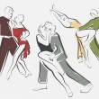 Sketches of dancing couples in line style — Vector de stock