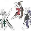 Sketches of dancing couples in line style — Imagen vectorial