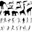 Set of pictures of and animals in the prehistoric period — Векторная иллюстрация