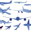 Stock Vector: Set of simple symbols of aircrafts