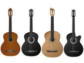 Realistické izolované vektor čtyři druh kytara — Stock vektor
