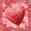 Heart stained glass window with frame. — Stock Vector #22102909
