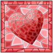 Heart stained glass window with frame. — Stock Vector