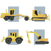 Set of simple icon of heavy machines. — Stock Vector