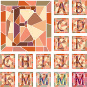 Mosaic capital letters alphabet. — Stock Vector