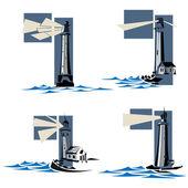 Set of lighthouse icons. — Vetor de Stock