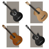 Vector illustration of some types guitar. — Stock Vector
