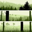 Horizontal banners of hills coniferous wood. — Stock Vector