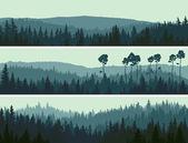 Horisontella banners hills virke av barrträd. — Stockvektor
