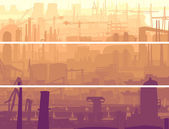 Abstract horizontal banner industrial part of city in the mornin — Stock Vector
