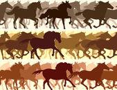 Horizontal illustration herd of horses. — Stock Vector