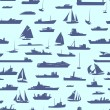 Seamless abstract cartoon background with many ships. — Stok Vektör #24154697