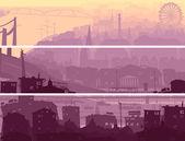 Abstrakte horizontale banner großstadt im sonnenuntergang. — Stockvektor