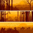 Horizontal banners of hills deciduous wood. — Imagen vectorial