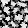 Autumn maple leaves, seamless black and white background. - Stock Vector