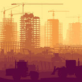 Illustration of construction site with crane and building. — Stock Vector