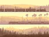 Horizontal banners of locomotive, train and hills coniferous woo — Vector de stock