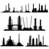 Silhouettes of units for industrial part of city. — Stock Vector