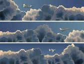 Banner orizzontale del piano tra le nuvole. — Vettoriale Stock