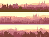 Horizontal banners of big arab city at sunset. — Stock Vector
