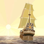 Illustration of sailing ships of the 17th century at sunset. — Stock Vector