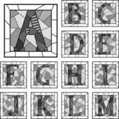 Mosaic capital letters alphabet patterned lines. — Stock Vector