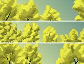 Coroa de banners horizontais de árvores contra o céu. — Vetorial Stock