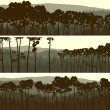 Horizontal banners of coniferous pinewood. — Stockvectorbeeld