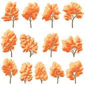 Conjunto de árvores de folha caduca no outono. — Vetor de Stock