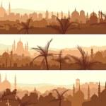 Horizontal banners of big arab city at sunset. — Stock Vector #28063007
