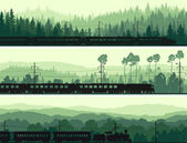 Horizontal banners of locomotive, train and hills coniferous woo — 图库矢量图片