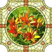 Illustrazione vettoriale di gigli fiore rosso. — Vettoriale Stock