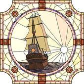 Ilustración de veleros del siglo xvii al atardecer. — Vector de stock
